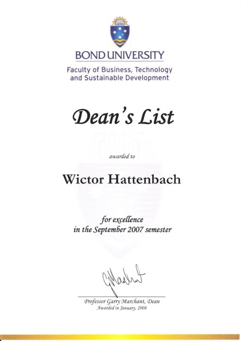 dean's list wictor hattenbach